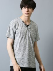 トリッキーランダムテレコ Vネック半袖Tシャツ