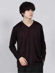 メランジポンチ Vネック長袖Tシャツ