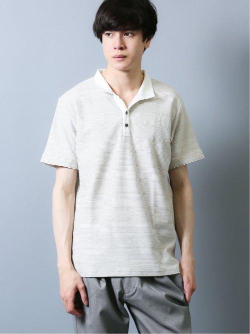 シャドーボーダー デザイン半袖ポロシャツ