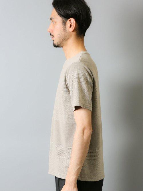 接触冷感 吸水速乾 パネルボーダークルーネック半袖Tシャツ