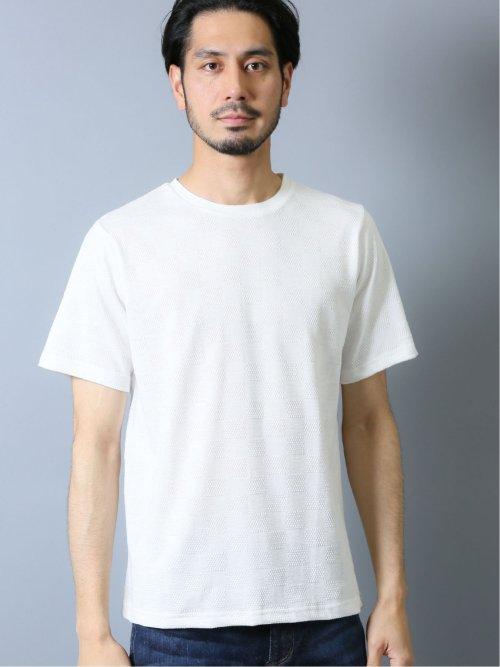 接触冷感 吸水速乾 ポップコーン市松クルーネック半袖Tシャツ