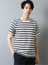 接触冷感 吸水速乾 リップルボーダークルーネック半袖Tシャツ