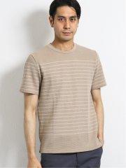 ナノファイン/NANOFINE ワッフルボーダー クルーネック半袖Tシャツ