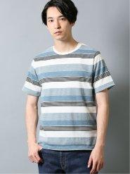 接触冷感 吸水速乾 ジャガードボーダークルーネック半袖Tシャツ