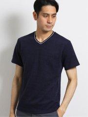 ナノファイン/NANOFINE ふくれジャガードVネック半袖Tシャツ