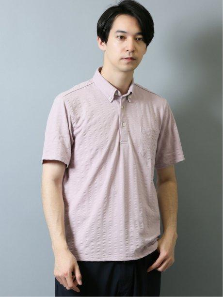 吸水速乾 ワイドサッカー ボタンダウン半袖ポロシャツ
