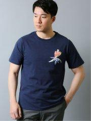 ストレチア柄 クルーネック半袖Tシャツ