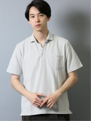 ハニカム鹿の子 スキッパー半袖ポロシャツ