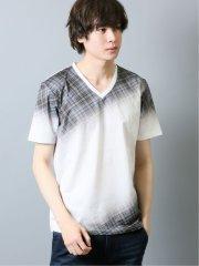 ナノファイン/NANOFINE レジェンドチェック Vネック半袖Tシャツ