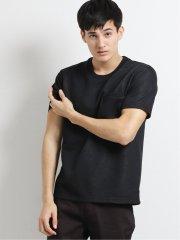 ポケット付きダブルフェイス クルーネック半袖Tシャツ