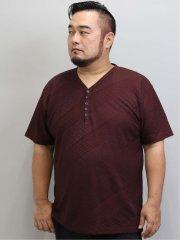 【大きいサイズ】レノマオム/renoma HOMME 吸汗速乾 バイヤスジャガードYヘンリー半袖Tシャツ