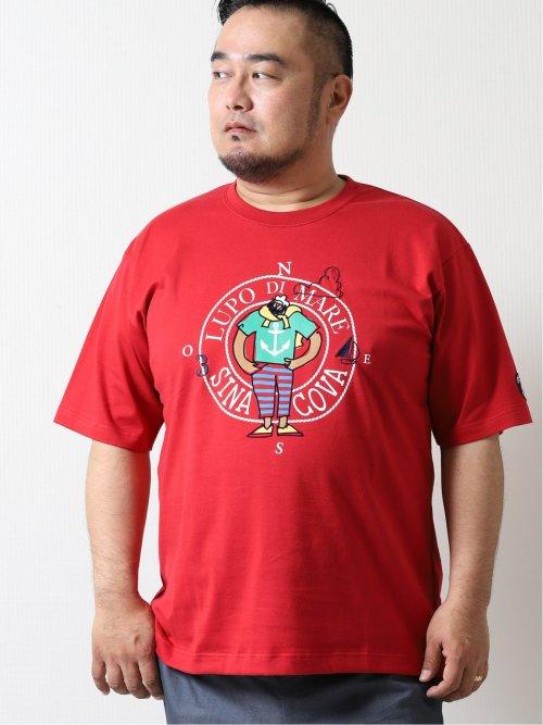 【大きいサイズ】シナコバ/SINA COVA プリントクルーネック半袖Tシャツ