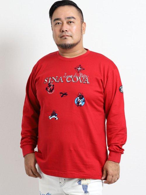 【大きいサイズ】シナコバ/SINA COVA 天竺ワッペン使いクルーネック長袖Tシャツ