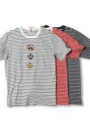 【大きいサイズ】シナコバ/SINA COVA  ハイゲージ天竺ボーダー クルーネック半袖Tシャツ