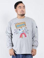 【大きいサイズ】シナコバ/SINA COVA ブランド胸刺繍ロゴ クルーネック長袖Tシャツ