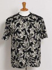 【大きいサイズ】バラシ ミラノ/barassi MILANO リーフ柄クルーネック半袖Tシャツ