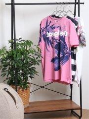 【大きいサイズ】デシグアル/Desigual ピンクパーム 半袖Tシャツ