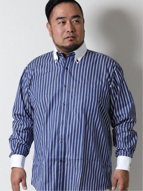 【大きいサイズ】GB by FATTURA  綿100%日本製 ボタンダウン長袖シャツ
