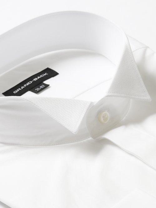 【大きいサイズ】グランバック/GRAND-BACK 綿100%形態安定ウィングカラー長袖シャツ 白無地