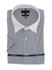 ノーアイロンストレッチ スリムフィット スキッパー半袖ニットシャツ