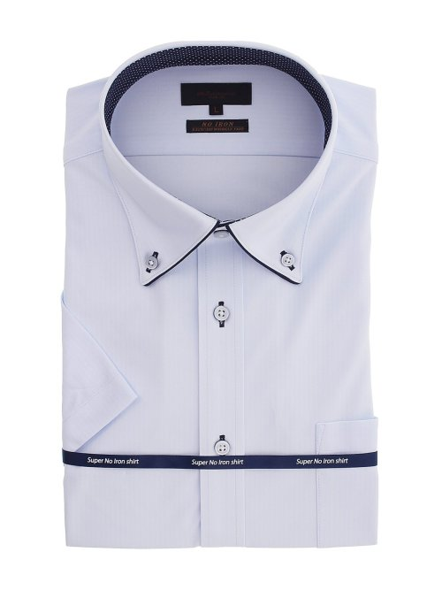 ノーアイロンストレッチ スリムフィット ボタンダウン半袖ニットシャツ