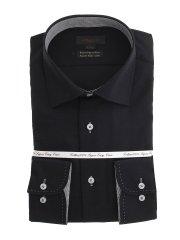 綿100% 形態安定 スリムフィット ワイドカラー長袖シャツ