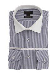 綿100% 形態安定 スリムフィット クレリックワイドカラー長袖シャツ