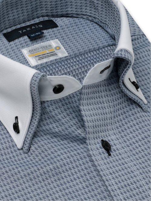 形態安定 吸水速乾 レギュラーフィット 2枚衿ボタンダウン長袖シャツ