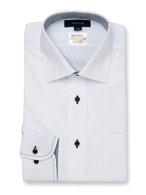 形態安定 吸水速乾 レギュラーフィット ワイドカラー長袖シャツ