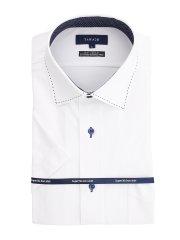 ノーアイロンストレッチ レギュラーフィット ワイドカラー 半袖ニットシャツ