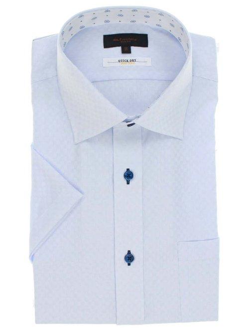 形態安定抗菌防臭スリムフィット ワイドカラー半袖シャツ