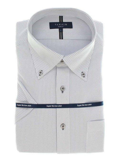 ノーアイロンストレッチ スリムフィットボタンダウン半袖ニットシャツ