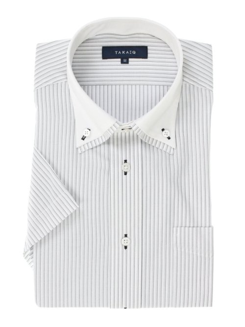 形態安定レギュラーフィット2枚衿ドゥエボタンダウン半袖シャツ