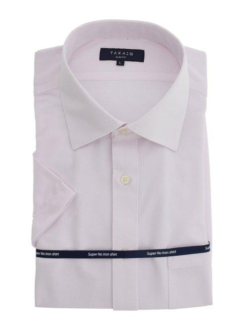 ノーアイロンストレッチ スリムフィット ワイドカラー半袖ニットシャツ