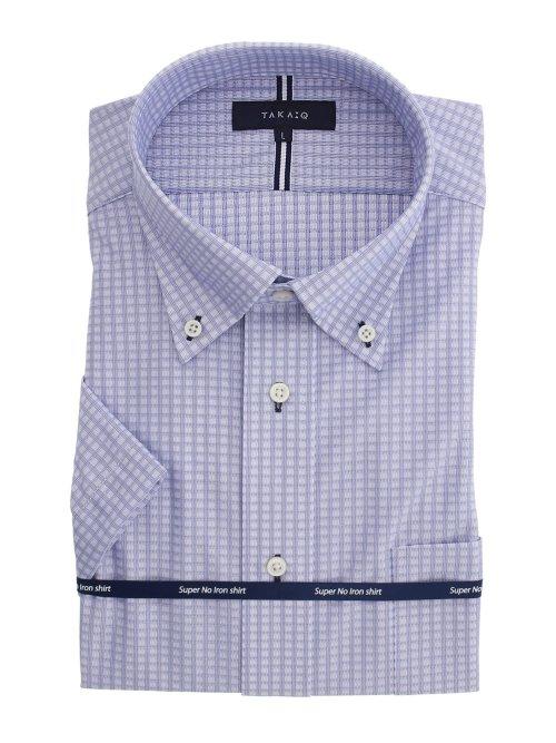 ノーアイロンストレッチ レギュラーフィット ボタンダウン半袖ニットシャツ