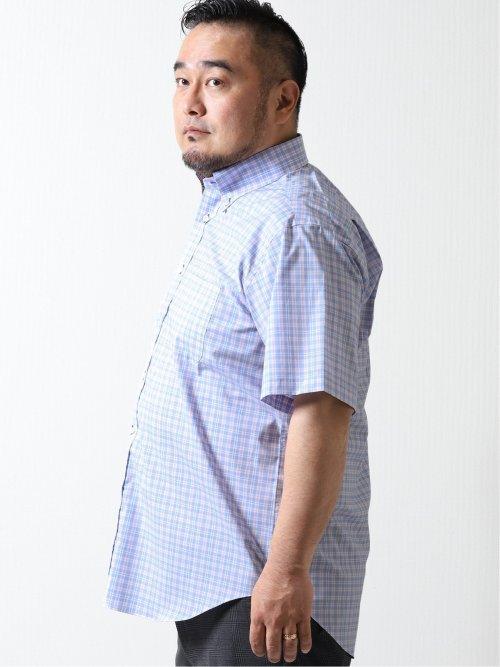 【大きいサイズ】アレキサンダージュリアン/ALEXANDER JULIAN 綿混ストレッチ ボタンダウン半袖シャツ