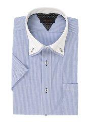形態安定スリムフィット 2枚衿ドゥエボタンダウン半袖シャツ