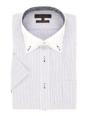 形態安定レギュラーフィットボタンダウンダブルステッチ半袖シャツ