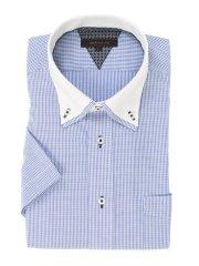 形態安定レギュラーフィット 2枚衿ドゥエボタンダウン半袖シャツ