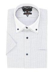 形態安定スリムフィット2枚衿ドゥエボタンダウン半袖シャツ