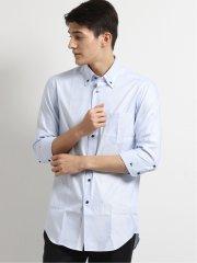 アイスカプセル形態安定スリムフィット 3枚衿ボタンダウン7分袖シャツ
