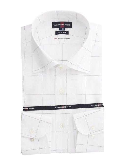 超長綿120双糸 スリムフィット ワイドカラー長袖シャツ