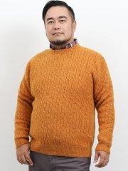 【大きいサイズ】グランバック/GRAND-BACK ウール100%無地ケーブルクルーネックセーター