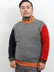 【大きいサイズ】グランバック/GRAND-BACK ウール100%無地切替クルーネックセーター