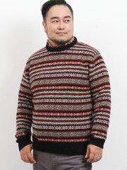【大きいサイズ】グランバック/GRAND-BACK ウール100%フェアアイル柄クルーネックセーター