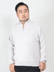 【大きいサイズ】グランバック/GRAND-BACK ピュアカシミヤ ハイジップニット