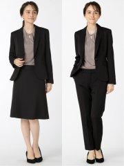 ストレッチウォッシャブル 1ボタンジャケット+スカート+パンツ 黒ストライプ