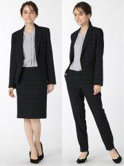 ストレッチウォッシャブル 1ボタンジャケット+スカート+パンツ 紺ウィンドペン