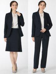 ストレッチウォッシャブル 2ボタンジャケット+スカート+パンツ 紺チェック