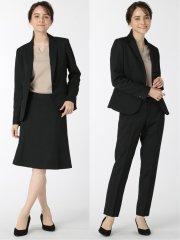 ストレッチウォッシャブル 1ボタンジャケット+スカート+パンツ 黒